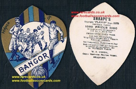 1890s Bangor City FC Wales W.N. Sharpe Play Up football card